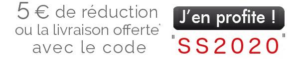 Livraison offerte ou -5€ dès 29€ d'achats avec le code SS2020